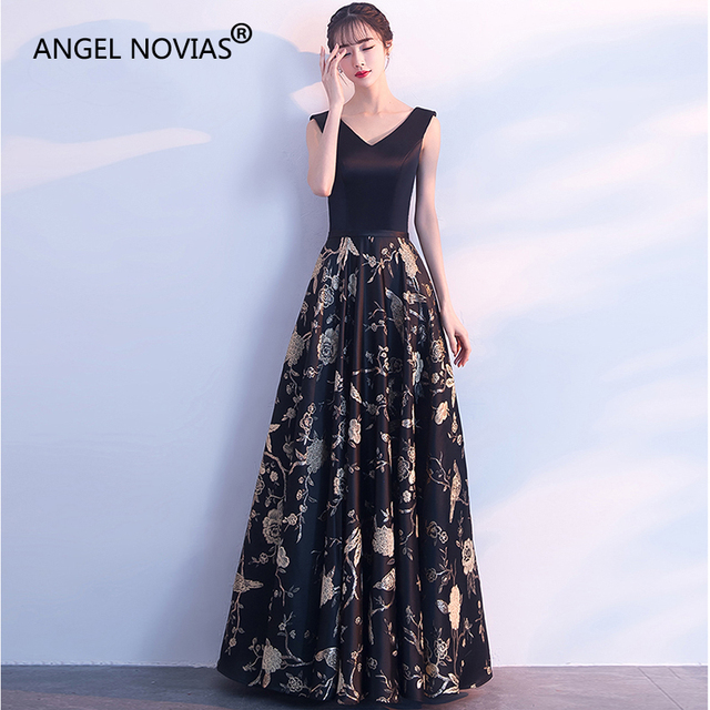 9159f22564643 ANGEL NOVIAS Long Elegant Black Abendkleider Arabic Evening Dress 2018  Formal Women robe de soiree sexy courte