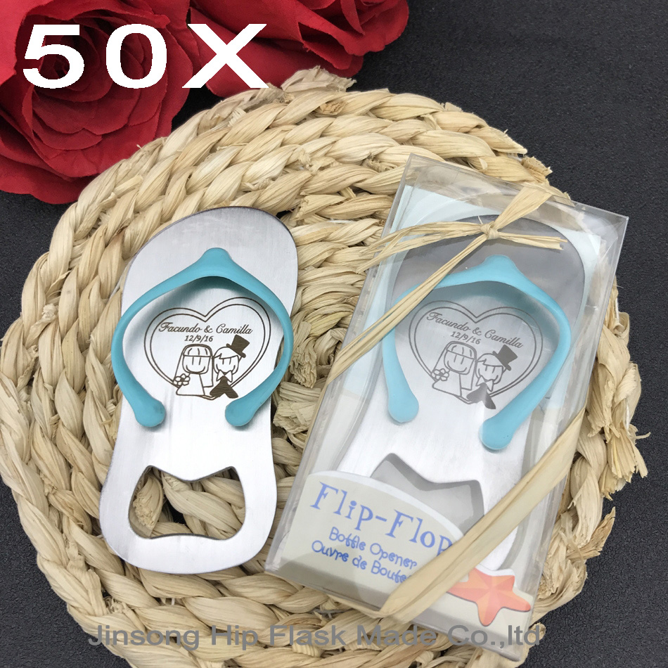 50pcs Personalized engraved pink or blue bottle opener of Guest gift of wedding favors and gifts