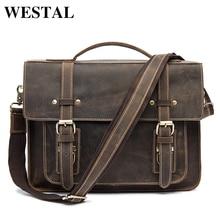 WESTAL Men Briefcases Handbag Leather Laptop Bag Messenger Bags Shoulder Crossbody Bags Crazy Horse Genuine Leather Men Bag