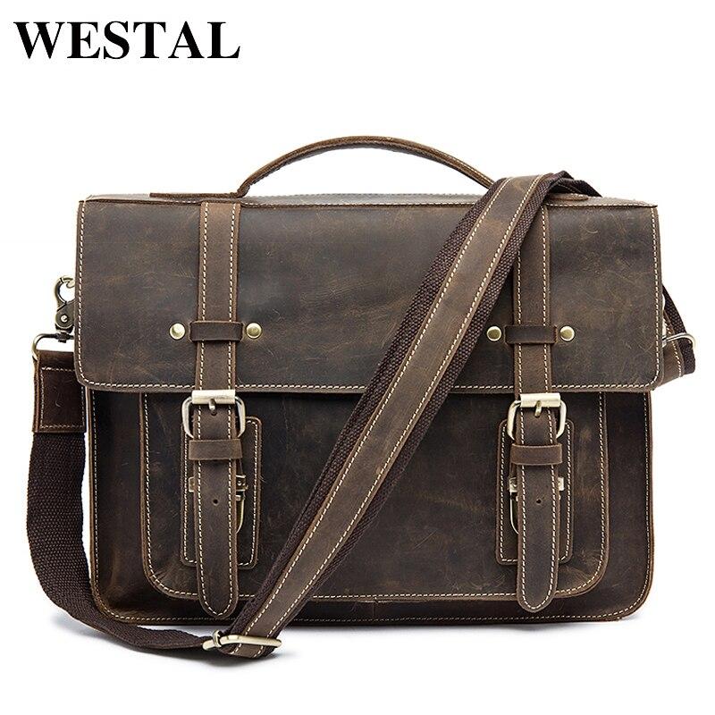 WESTAL Men Messenger Bags Crazy Horse Leather for Men's Shoulder Bag Genuine Leather Crossbody Bags Men Briefcase Handbags 9019