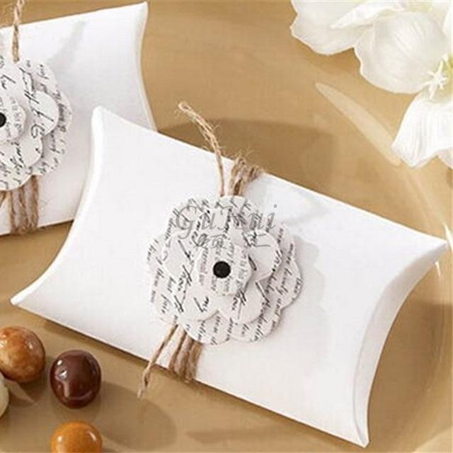 Love Letter Kraft Pillow Shape Candy Box Wedding Gift Petal Flower