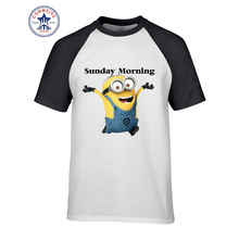 Minions Sunday Morning Print Cotton Tshirt for Adults