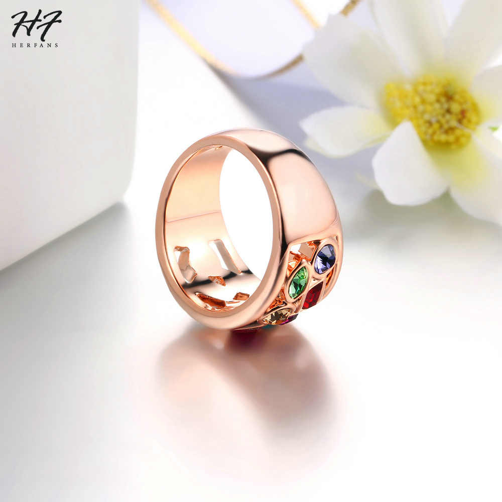 Top Quality Luxurious Cocktail Rings Rose Gold Color Austrian Crystal Jewelry Ring For Women Gift HotSale R018