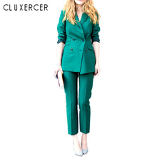 2017 Spring Newon Vintage Soild Color Slim Suit Jacket And Pants Fashion pants suit women Plus Size
