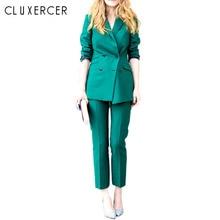 2017 Spring Newon Vintage Soild Color Slim Suit Jacket And Pants Fashion pants suit women Plus Size