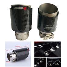 Universal Carbon Fiber Car Exhaust Pipe Muffler End Tip 63mm IN 89mm OUT Durable Round Silencer System