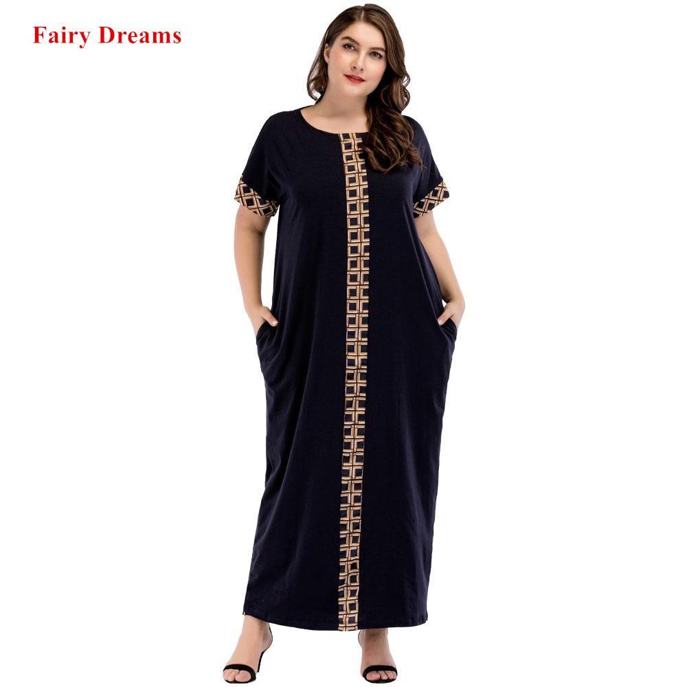 edde752022c5b Women Muslim Abaya Long Dress Short Sleeve Summer Kaftan Turkish Islamic  Plus Size Clothes 3XL Dubai 2018 Lady Kaftan Robe