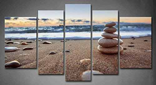 HD Print 5 panles Modern Wall Art Home Decoration Painting Canvas Wall Art Prints Pictures Sea Scenery With Beach