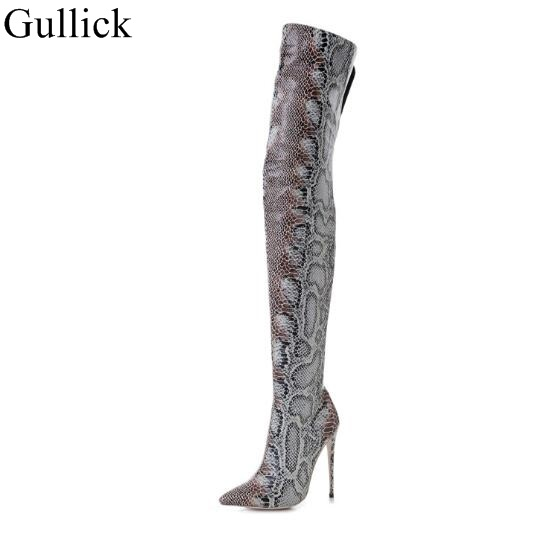 Snakeskin Women Boots Pointed Toe High Heels Over The Knee Boots Sexy Snake Print Leather Side Zipper Long Boots Winter Shoes Snakeskin Women Boots Pointed Toe High Heels Over The Knee Boots Sexy Snake Print Leather Side Zipper Long Boots Winter Shoes