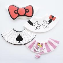 Japanese Style 360 Degree Cotton Round Bib Newborn Baby Saliva Towel Cute Cartoon 3D Bibs Red Bow Detachable Burp Cloths