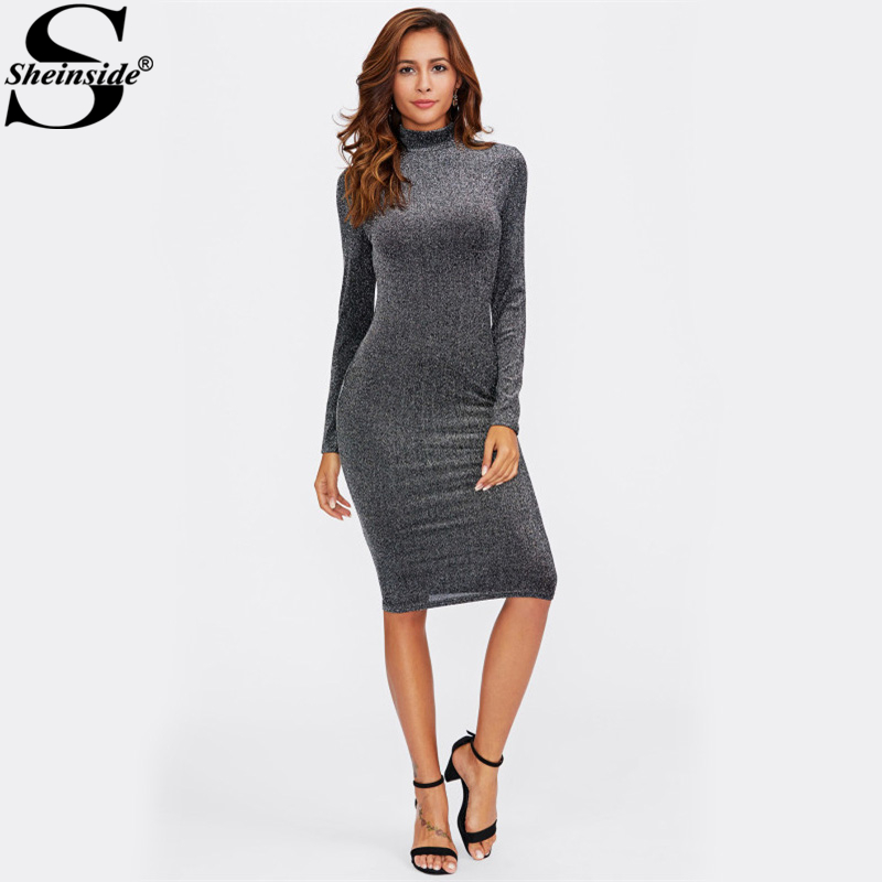 Sheinside High Women Long Sleeve Sexy Pencil Dress Casual