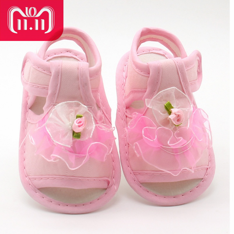 Baby Girl Lace Flowers Sandals Cotton Fabric Female Sandals Girl Summer Shoes Flowers Sandals