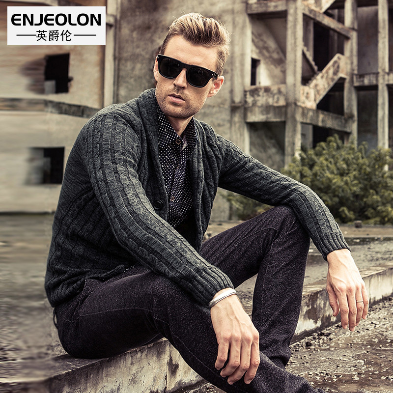 Autumn and winter sweater male fashion shawl collar 100% cotton sweater cardigan casual V-neck yarn shirt