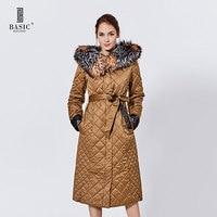 Basic Editions Women Winter Quilted Pattern Jacket Genuine Fox Fur Hood Zipper Extra Long Cotton Coat