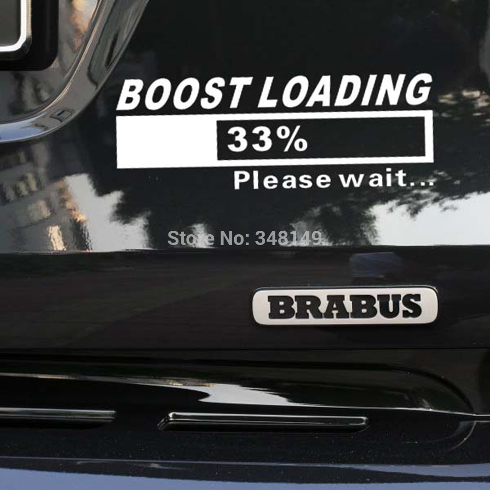 Newest design funny car stickers decal turbo charger boost loading for tesla volkswagen golf 7 ford chevrolet honda hyundai lada in car stickers from