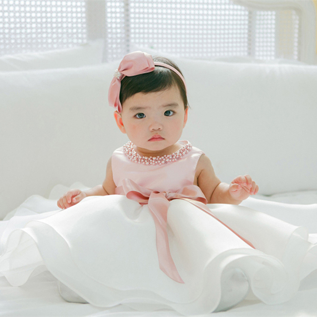 35bb141f0be46 US $10.16 28% OFF|Newborn Baby Girls Summer Clothes Dress Toddler Girl 1  Year First Birthday Outfits Pink Tutu Kid Party Dresses 6 12 24 Months-in  ...