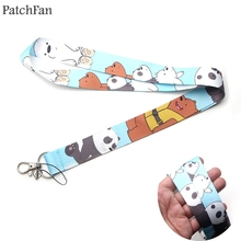 Patchfan Three Bare Bears cartoon lanyards neck straps for phones keys id card holders keychain webbing A1218