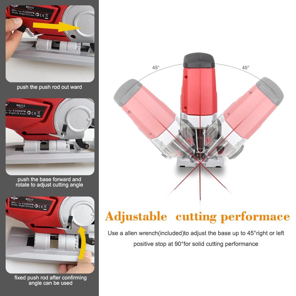 Power Light Saw Pcs Blades Wood Jig Jigsaw Cordless LED Tool With DC 6 Jigsaw Tool Speed Power NEWONE Adjustable 20V