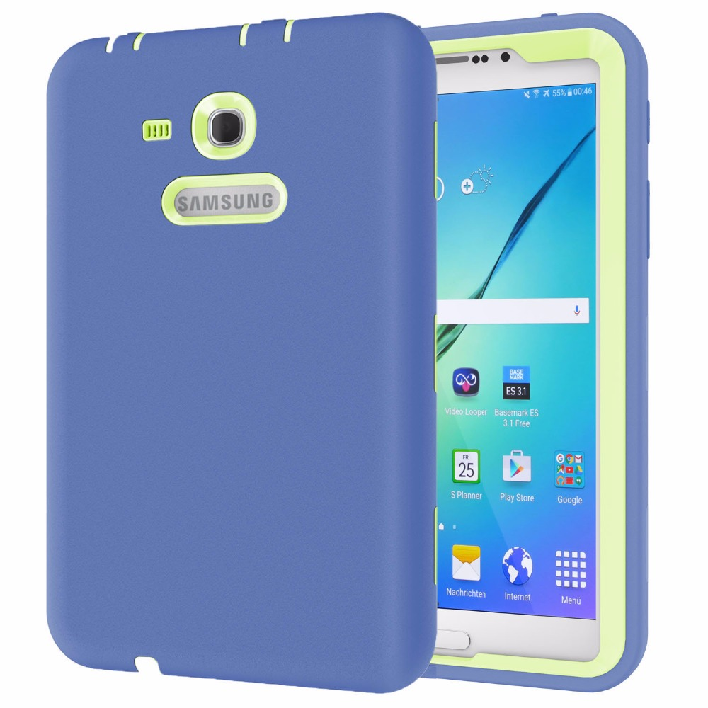 For Samsung Galaxy Tab 3 Lite 7.0 SM-T110 SM-T111 Case All Round Protective Cover 3 Layer Plastic+Rubber Case Coque Funda Capa ...