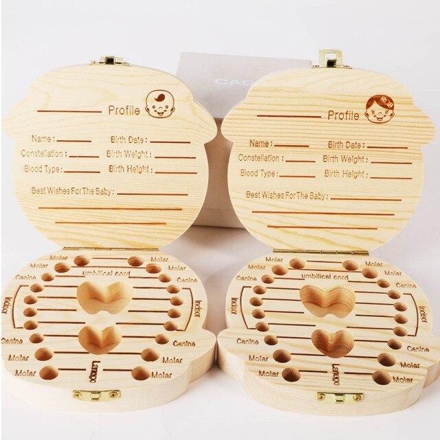 Nuevo organizador de caja de dientes de madera guardar dientes de leche almacenamiento de madera recoger dientes regalos cordón umbilical lanugo creativo para chico chica