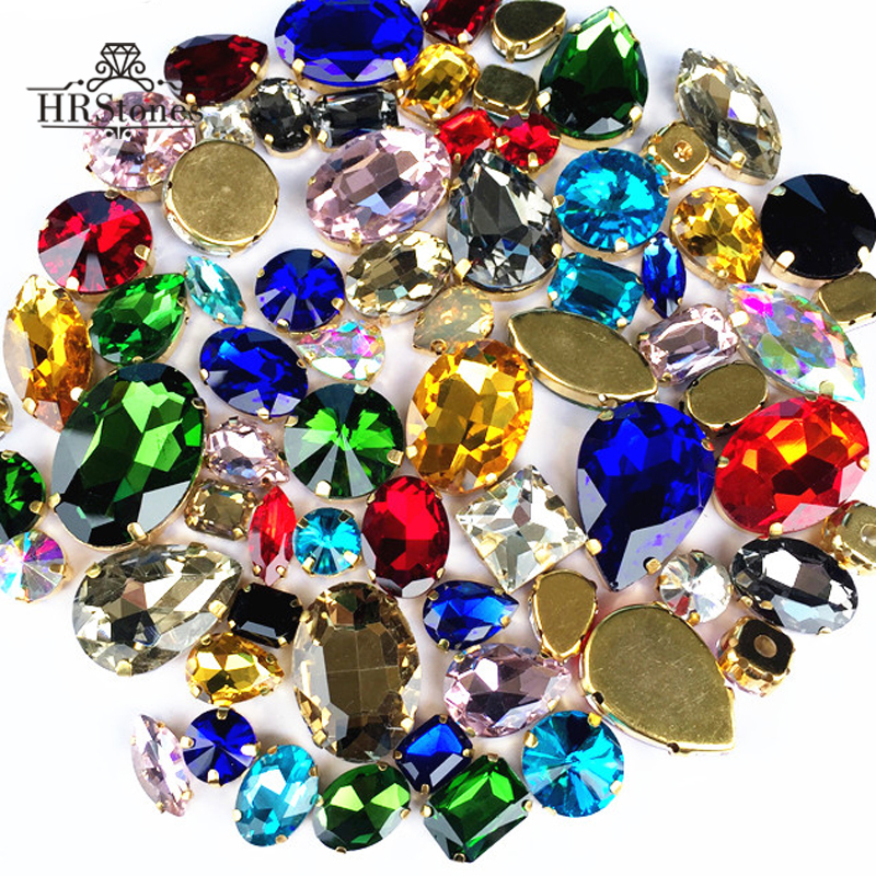Hand Mix Size And Mix Shape Strass Transparent Glass Sew On Rhinestone With Four Gold Cl ...