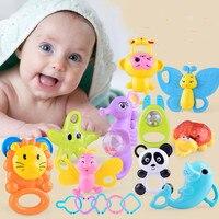 20 adet Yenidoğan Erkek Bebek Kız Sevimli Çıngıraklar Bebek Hayvan Baykuş Ayı Maymun El Çan Çocuk Oyuncak IQ Gelişimi Hediyeler
