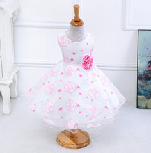 Summer new arrival flower princess girl dresses,baby girl party dress with flower 5 colors suit for 2-5 years S001