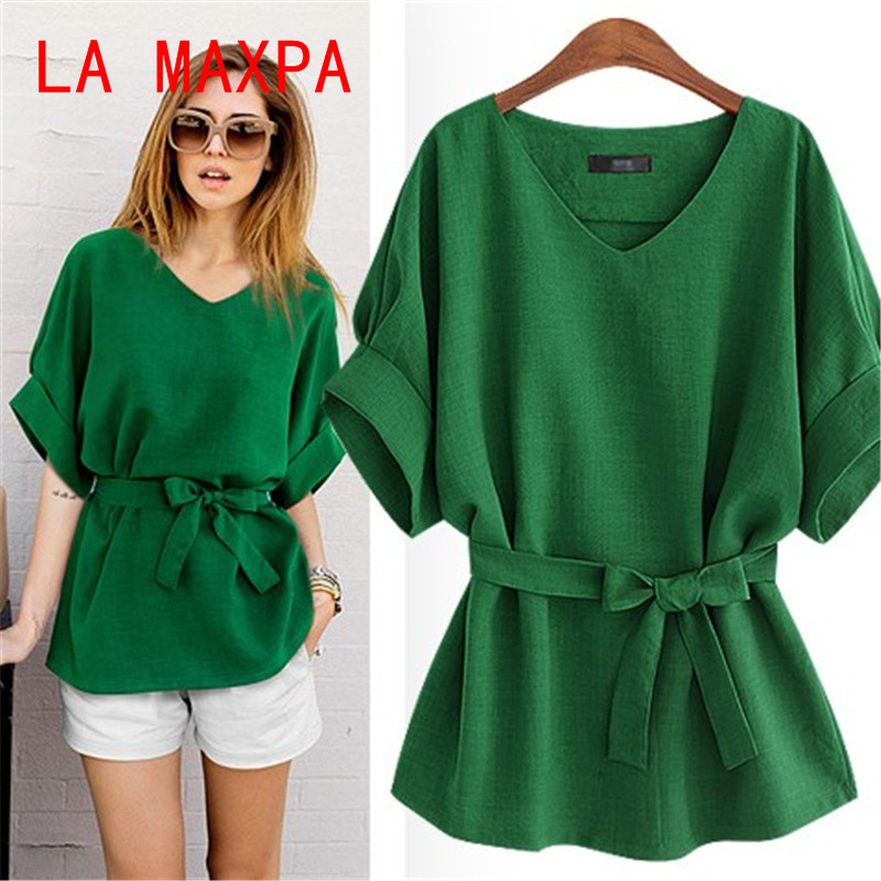 Women Summer New Batwing Sleeve V-Neck Solid Bow Linen Shirt Summer Casual Loose Tops Blouses Shirts Plus Size Tops Shirts