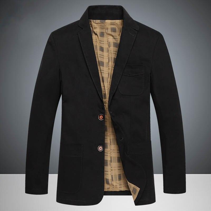 TANG 2019 Top Spring Brand Men's Causal Business Blazer Man Khaki Single-breasted Cotton Slim Suit Jacket Plus Large Size 4XL