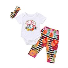 HELLO WORLD Newborn Kids Baby Girls Hello World Floral Hoop Romper Tops Pants Outfit Clothes(China)