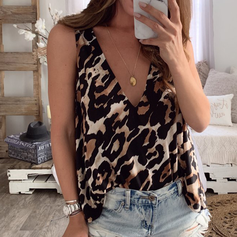 2019 BBYES Summer Clothes For Women Female Leopard Print Sexy Deep V Neck Vest Cami Ladies Holiday Casual Sleeveless   Tank     Tops
