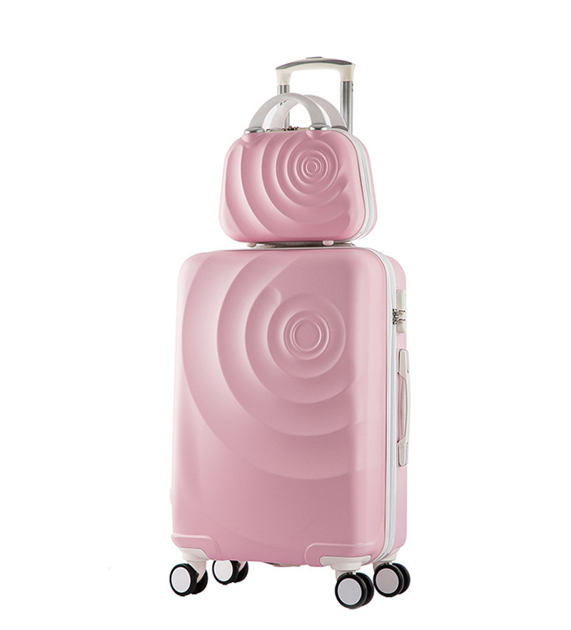 20 inch High quality Trolley suitcase luggage travel case Pull Rod trunk rolling spinner wheels ABS+PC boarding box Cosmetic bag 21 inch students scooter suitcase boy cool trolley case 3d extrusion high quality pc separable travel luggage child boarding box