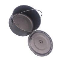 FLAME'S CREED 1100ml 1950ml Ultralight Outdoor Camping Titanium Pot & pan Cooking Pot fry pan Titamium Cookware Sets Pot