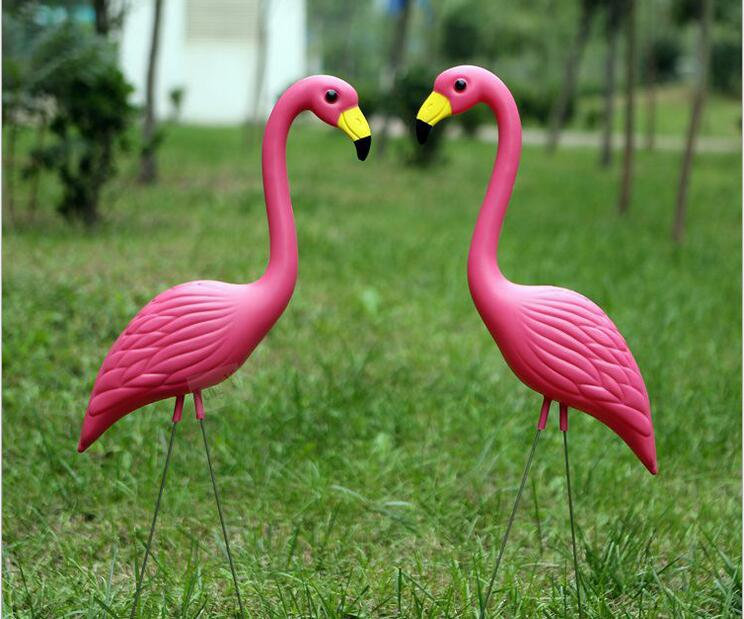 Free Shipping 56 24cm 16pcs Lot Pink Simulation Flamingo Fake Bird Ornaments Gardening Animal Decorations Outdoor Supplies In Garden From Home