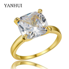 YANHUI Luxury Big Large 10mm Stone Solitaire Ring Top 5A Cubic Zircon Jewelry Real Pure Gold Color Fine Rings For Women  K18K011