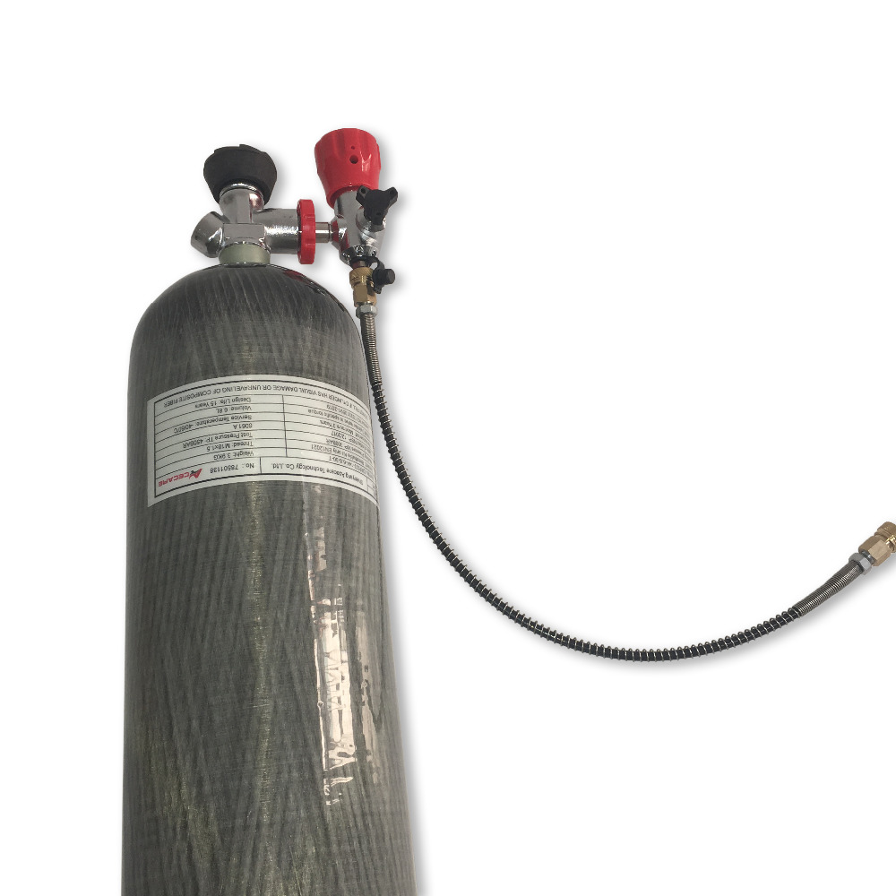 Rifle Pcp 6.8L 300bar 4500psi Empty Gas Cylinder Balloon Air Scuba & Valve & Fill Station & Hose Drop Shipping
