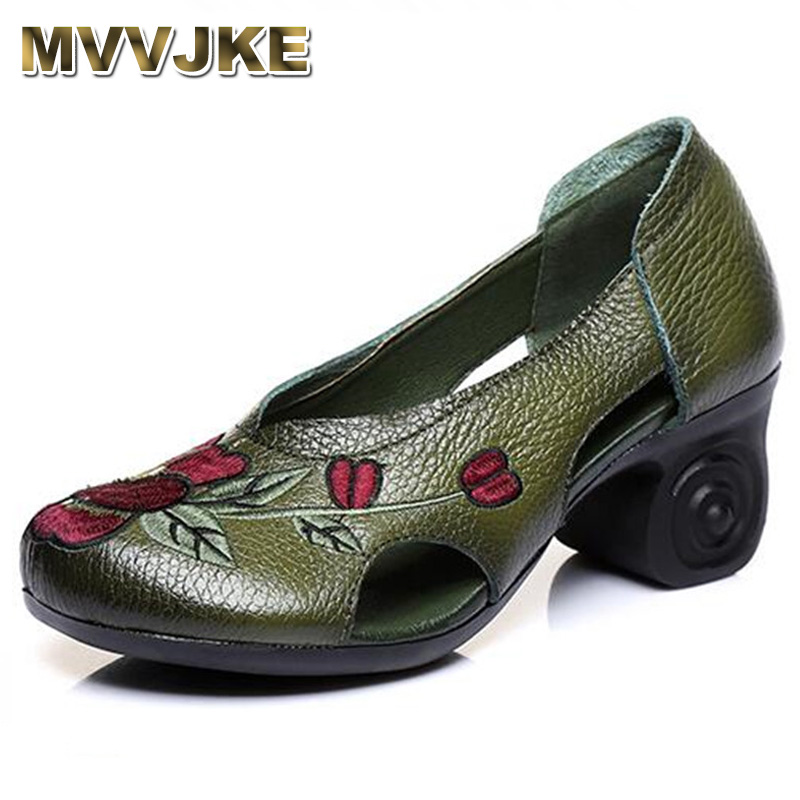 Broderie Noir Hauts 2018 Talons Vache Creux Chaussures À En Mvvjke Femme vert Vachette rouge Femmes Sandales Mode Cuir De Nouveau Tp5xpSwq8