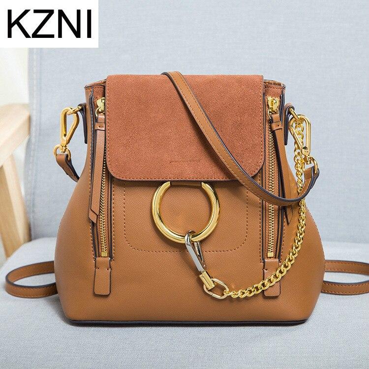 ФОТО KZNI women leather luxury big realer fashion large business casual 2016 autumn winter genuine female backpack sac bolsa rugzak