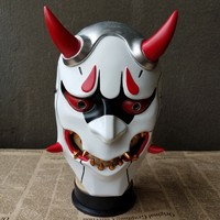 Resin Face Adult Party Mask OW Soldier Genji Skin Oni Devil Mask Cosplay Game Watch Pioneer Evil Mask Halloween Full Face Masks