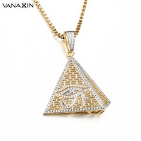 VANAXIN Paved CZ Crystal Iced Out Crystal Evil Eye Pendants Necklaces Egyptian Pyramid Shape Gold/Silver Color Men Women Jewelry