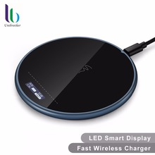 UNIBROTHER Wireless Charger with Smart Display,10W Ultra Silm Fast Charging Pad for Apple iPhoneX, iPhone 8 8 Plus,Samsung Note8