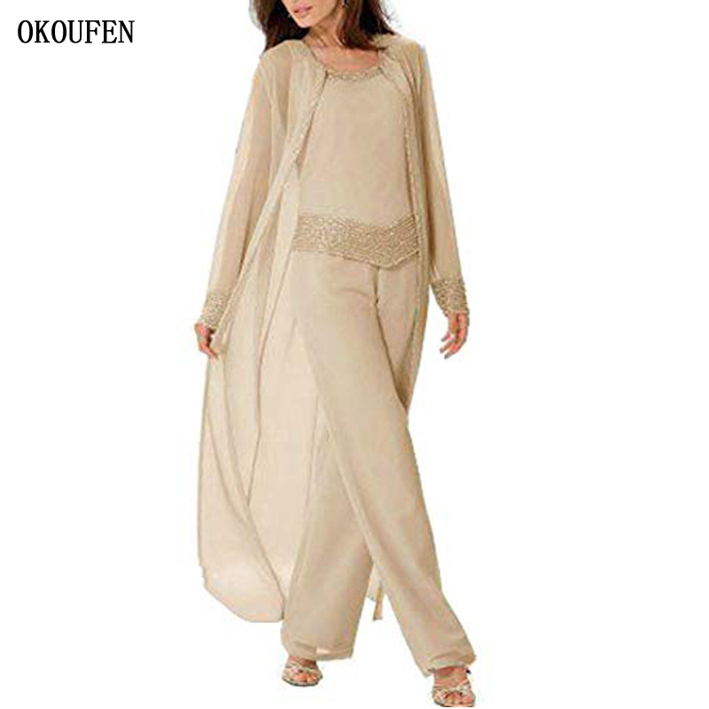 OKOUFEN Chiffon Mother Of The Bride Dresses For Wedding 2019 Pant Suit 3 Piece Set Long Jacket Champagne Mother's Kurti Madrinha