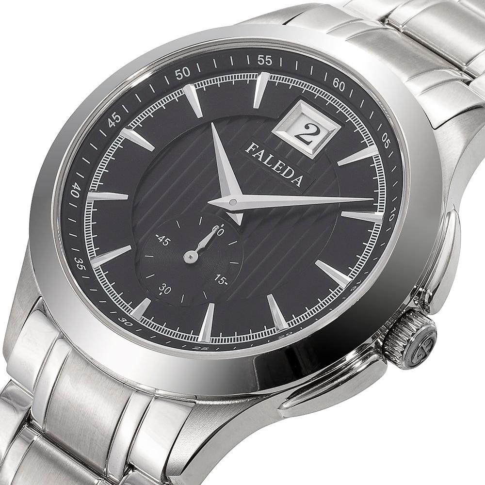 FALEDA Business Calendar Quartz Men Watch Waterproof Sapphire Glass Stainless Steel Case Sport Wristwatch Man Relogio Masculino