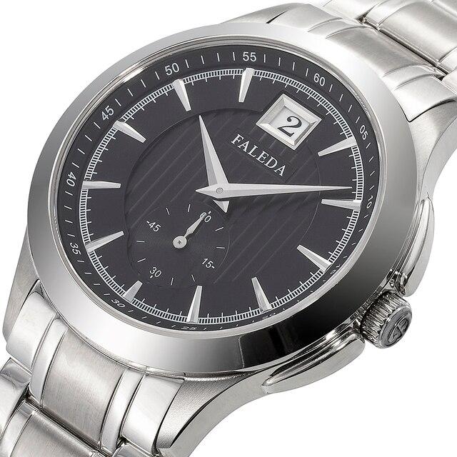 Faleda ビジネスカレンダー腕時計防水サファイアガラスステンレススチールケーススポーツ腕時計男性レロジオ masculino