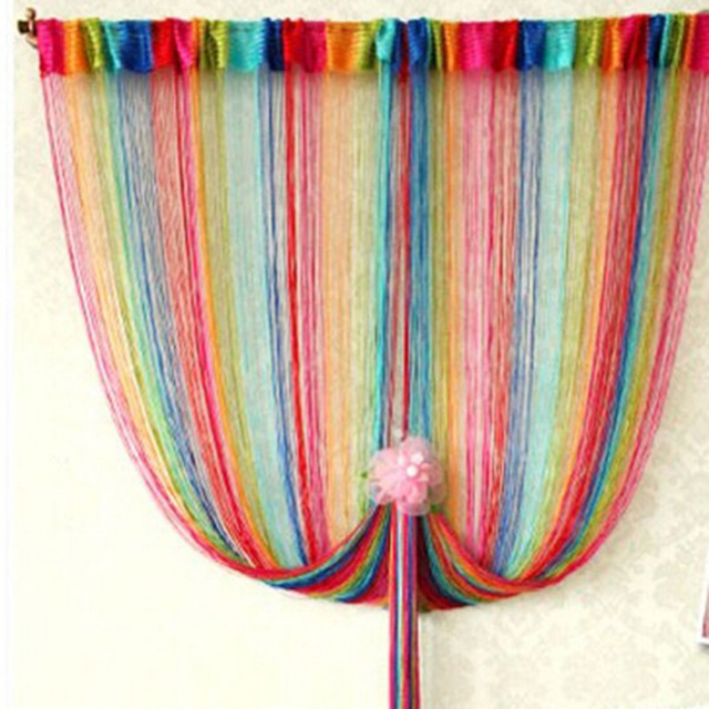 95cm * 200cm Rainbow Line Curtain With 6 Colors In The Living Room Bedroom Door Home Decorative Curtain