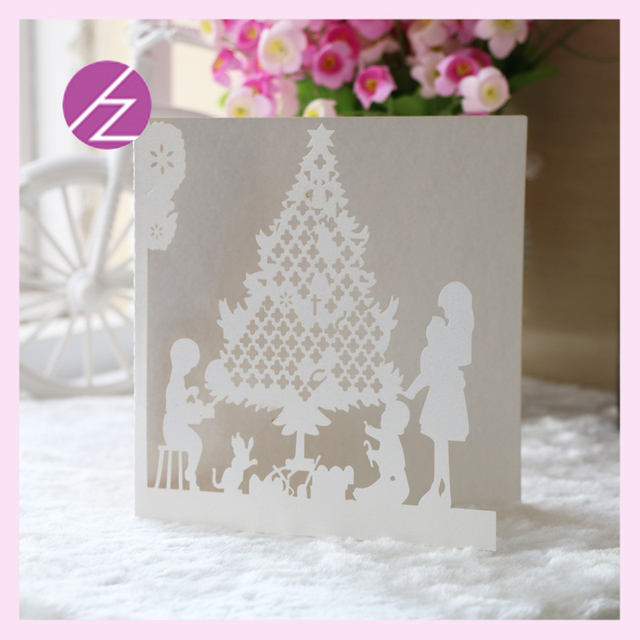 12pcs free shipping happy christmas tree design wedding party