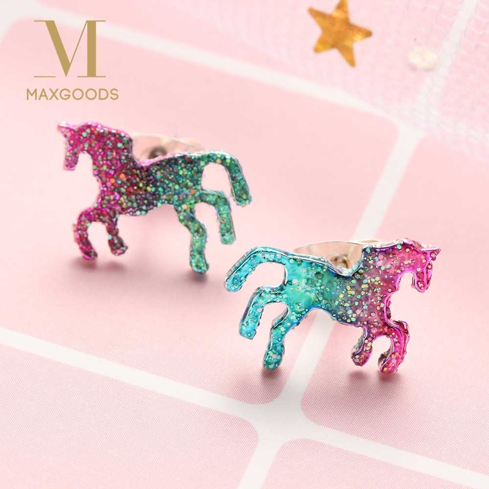 1 Pair Fashion Colorful Horse Stud Earrings for Women Cute Shining Animal Earring Unicorn Earrings Party Gifts Accessories