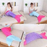 New Fashion Handmade Flannel Mermaid Fish Tail Fleece Sofa Throw Blanket Kids Children Gift Free Shipping
