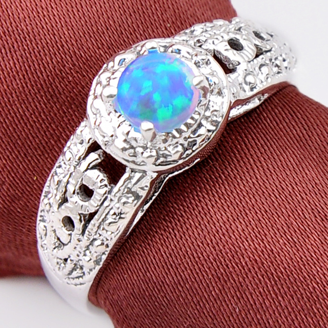 Promotion High Quality Blue Fire Opal Wedding Rings Russia USA