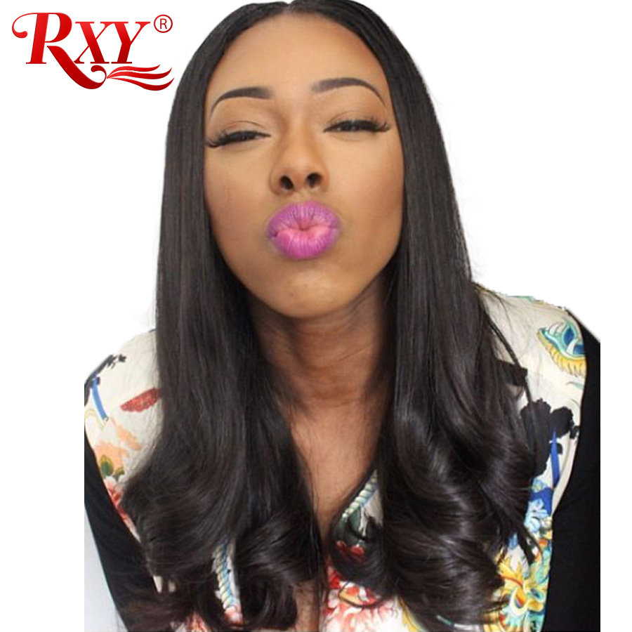 RXY Brazilian Straight Lace Front Wig Glueless Lace Front Human Hair Wigs For Women Swiss Lace Wig With Baby Hair Black Non Remy